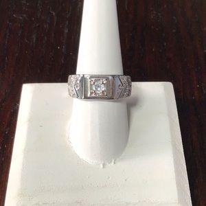 Adjustable Stylish Men's White Gold filled Ring